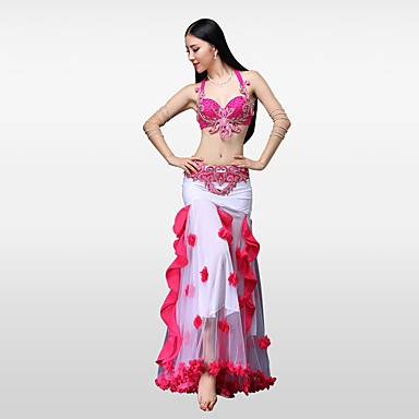 Belly Dance Outfits Women's Performance Cotton Polyester Chinlon Paillette Crystals / Rhinestones Flower Ruffles Dropped Skirts Bra Belt