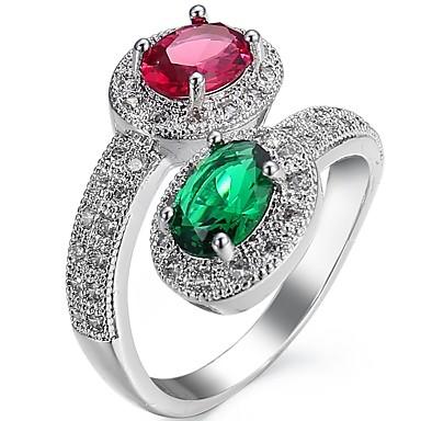 voordelige Herensieraden-Dames Knokkelring Verlovingsring обернуть кольцо Kubieke Zirkonia kleine diamant Groen Blauw Zirkonia Koper Ovaal Bruiloft Feest Sieraden HALO twee stenen