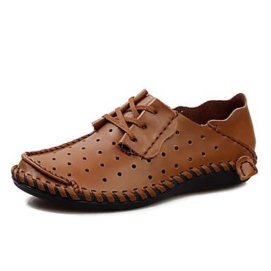 Men's Faux Leather / Cowhide Spring / Fall Comfort Sneakers Black / Light Brown / Dark Brown