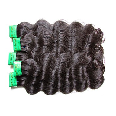 Indian Hair Wavy / Body Wave Unprocessed Human Hair / Virgin Human Hair / Remy Human Hair Natural Color Hair Weaves / Hair Bulk Natural Color Human Hair Weaves For Black Women / 100% Virgin