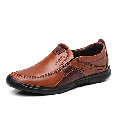 Men's Comfort Shoes Leatherette / Cowhide Spring / Fall Loafers & Slip-Ons Black / Brown / Khaki