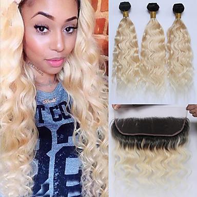 baratos Extensões de Cabelo Natural-3 pacotes com fechamento Cabelo Brasileiro Ondulado Cabelo Natural Remy Âmbar Âmbar Tramas de cabelo humano Extensões de cabelo humano