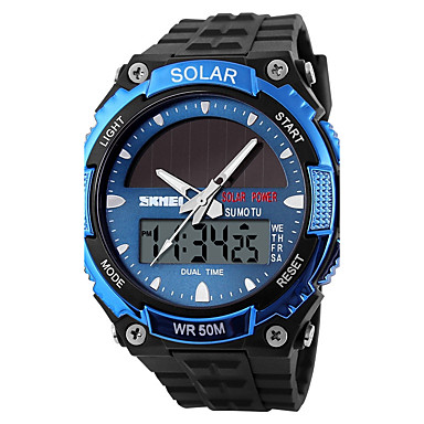 cheap Women's Watches-SKMEI Men's Sport Watch Wrist Watch Digital Watch Quartz Black 30 m Water Resistant / Waterproof Alarm Calendar / date / day Analog - Digital Classic Dress Watch - Silver Red Blue / Chronograph