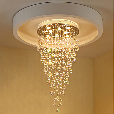 8-Light Chandelier Downlight Electroplated Metal Crystal, Bulb Included, Designers 110-120V / 220-240V Warm White Bulb Included / GU10