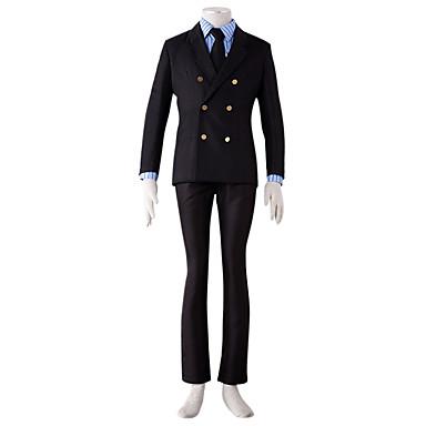 Ihlette One Piece Sanji Anime Szerepjáték jelmezek Cosplay ruhák Egyszínű Kabát Ing Nadrágok Kötél Kompatibilitás Férfi
