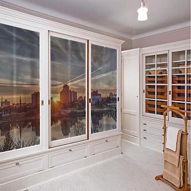 Window Film & Stickers Decoration City View Art Deco PVC / Vinyl Window Sticker / Living Room