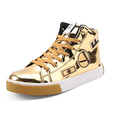 3af21cbd651 Homens Sapatos Confortáveis Couro Envernizado Primavera   Outono Tênis  Botas Cano Médio Dourado   Preto