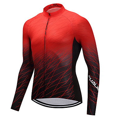 FUALRNY® Hombre Manga Larga Maillot de Ciclismo - Negro / Rojo Gradient Bicicleta Camiseta / Maillot Deportes Invierno Ciclismo de Montaña Ciclismo de Pista Ropa / Alta elasticidad