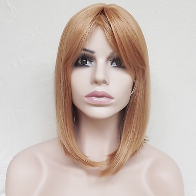 Synthetic Wig Straight Blonde Asymmetrical Haircut / With Bangs Synthetic Hair Natural Hairline Blonde Wig Women's Short Capless