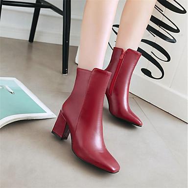 Mi Bottes Rouge à Noir la Bottes Femme carré Similicuir Chaussures 06321618 Hiver Bottes Blanc Bout Fermeture mollet Mode axICPnp0