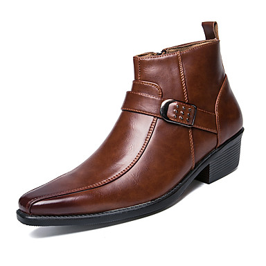 Men's Fashion Boots Leather Fall / Winter Boots Booties / Ankle Boots Black / Brown / Party & Evening