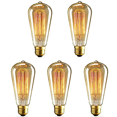 abordables Incandescent-5pcs 40 W E26 / E27 ST64 Blanc Chaud 2200-2700 k Rétro / Intensité Réglable / Décorative Ampoule incandescente Edison Vintage 220-240 V