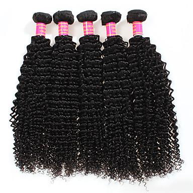 baratos Extensões de Cabelo Natural-4 pacotes Cabelo Peruviano Kinky Curly 8A Não processado Cabelo Natural Cabelo Humano Ondulado 8-28 polegada Tramas de cabelo humano Extensões de cabelo humano / Crespo Cacheado