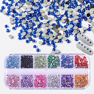 1 pcs Glitter Powder Nail Jewelry Rhinestones Luxury / Fashionable Design / Cute nail art Manicure Pedicure Wedding / Party / Evening / Daily Crystal / Artistic / Round / Lovely
