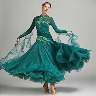 ボールルームダンス ドレス 女性用 性能 スパンデックス チュール プロミックス アップリケ クリスタル / ラインストーン 長袖 ナチュラルウエスト ドレス