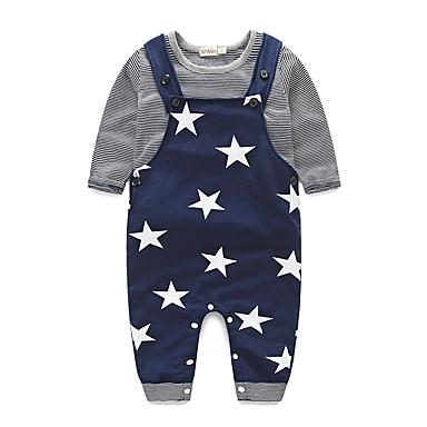 Boys' Stripe Clothing Set, Cotton Spring Fall Long Sleeves Stripes Black Gray