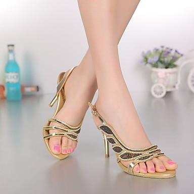 Talon Sandales Printemps Bout 06308688 Eté Femme à Bottes Aiguille Brillante Polyuréthane Paillette Cristal Chaussures ouvert la Mode Strass q8WRP1zn
