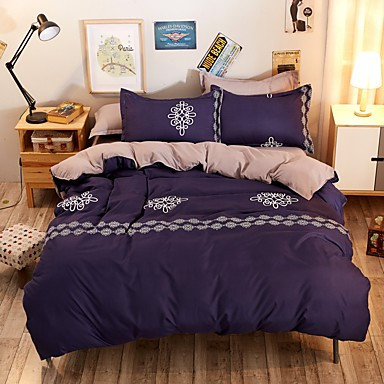 Duvet Cover Sets Solid 4 Piece 100% Cotton Reactive Print 100% Cotton 4pcs (1 Duvet Cover, 1 Flat Sheet, 2 Shams)