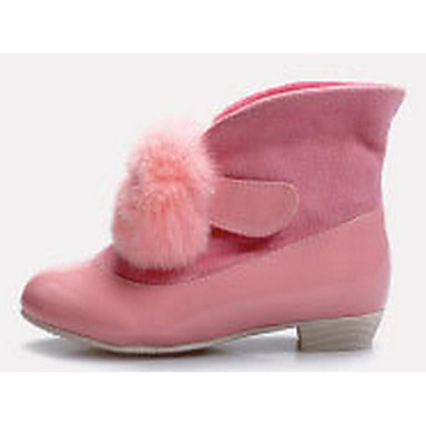 Girls' Shoes Cowhide Fall / Winter Comfort / Snow Boots Boots for Black / Pink / Almond