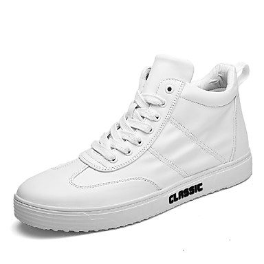 Men's Leatherette Fall / Winter Comfort / Fluff Lining Sneakers White / Black / Red