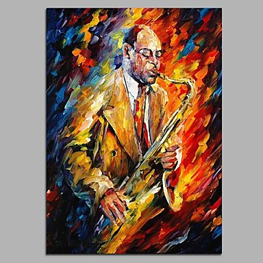 Oil Painting Hand Painted - People Artistic Classic & Timeless Modern / Contemporary Canvas