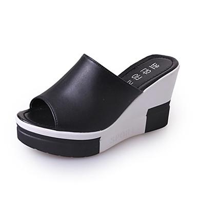 Mulheres Sapatos Couro Ecológico Verão Chinelos e flip-flops Caminhada Salto Plataforma Ponta Redonda Vazados para Branco Preto