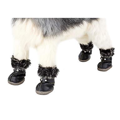 Собака Зимние сапоги Одежда для собак Однотонный Красный   Черный ПУ  (полиуретан) Костюм Для 6086d89909c93