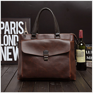 Men's Bags PU(Polyurethane) Briefcase Zipper Coffee