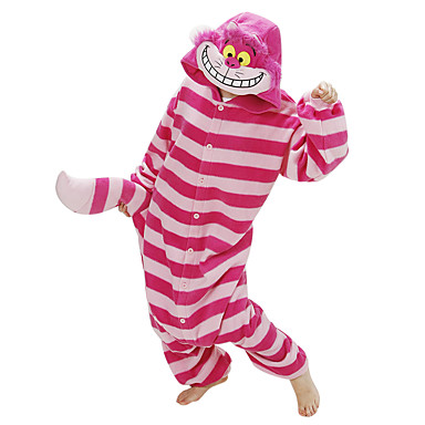 Voksne Kigurumi-pysjamas Kat Chesire Cat Onesie-pysjamas Polar Fleece Rød Cosplay Til Damer og Herrer Pysjamas med dyremotiv Tegnefilm Halloween Festival / høytid