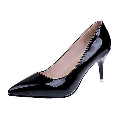 Damen Schuhe PU Frühling Sommer Herbst Slouch Stiefel Komfort High Heels Walking Stöckelabsatz Spitze Zehe Strass Für Normal Schwarz Blau