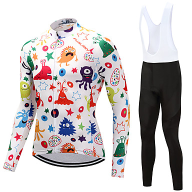 FUALRNY® Men's Long Sleeve Cycling Jersey with Bib Tights - White Bike Clothing Suits Fleece