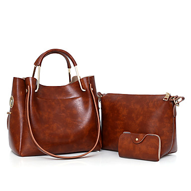 Women's Bags PU Bag Set Zipper Red / Gray / Brown