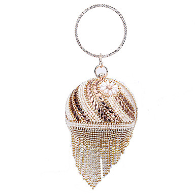 Women's Bags Polyester Evening Bag Beading / Pearls Gold / Wedding Bags