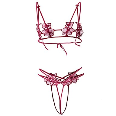 billige BH'er-Kvinner Balkong-BH Sett med truse og BH Uten bøyle / Med stropper - Lapper Akryl Polyester Nylon Rød Rosa Lyseblå
