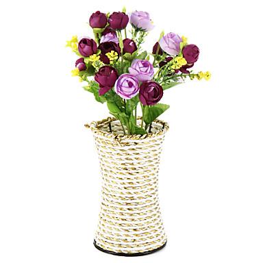1branch silkki / muovi ruusut keinotekoiset kukat maljakko sisustusta