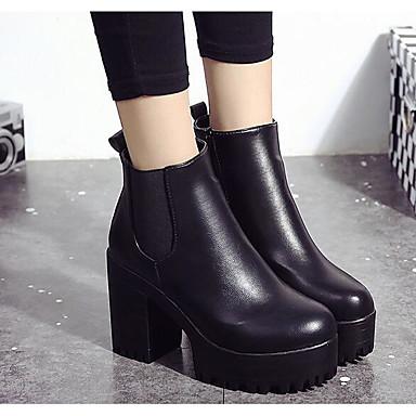 Borgoña Botas Negro Mujer Zapatos Botines PU Cuadrado Otoño el Primavera Hasta Botas 06287444 Combate cuadrada de Dedo Tacón Tobillo 1Tq10xa