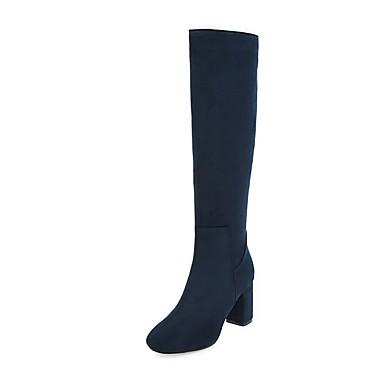 voordelige Dameslaarzen-Dames Laarzen Blokhak Ronde Teen Rits Kunstleer Knielaarzen Rijlaarzen / Modieuze laarzen Winter Zwart / Donkerblauw / Rood / EU39