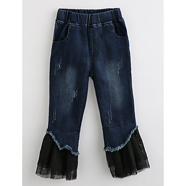 Toddler Girls' Solid Colored Cotton Jeans