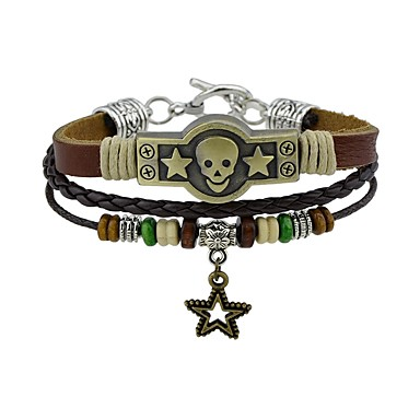 Men's / Women's Leather Bracelet - Leather Skull Vintage, Rock Bracelet Brown For Casual / Street