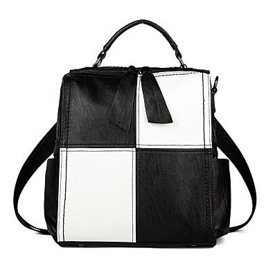 Women's Bags PU(Polyurethane) Backpack Zipper Black / Black / White