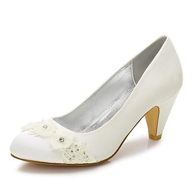 Női Cipő Szatén Tavasz / Nyár Kényelmes Esküvői cipők Kerek orrú Strasszkő / Gyöngydíszítés / Gyöngy Fehér / Kristály / Glitter