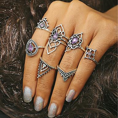 voordelige Ring-Dames Ring Kristal Legering Dames Vintage Modieuze ringen Sieraden Zilver Voor Dagelijks One-Size 7pcs