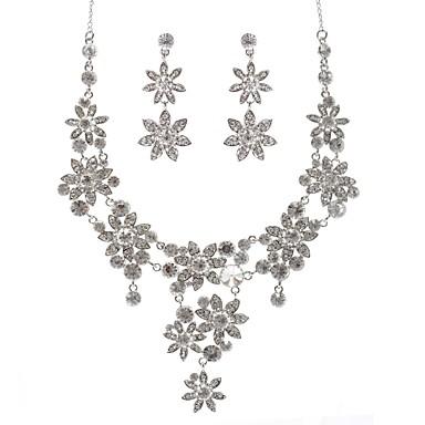 Damskie Syntetyczny diament Imitacja diamentu Biżuteria Ustaw 1 Naszyjnik Náušnice - Duże Geometric Shape Silver Kolczyki wiszące