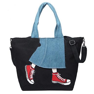 Women's Bags Canvas Tote Lace / Pattern / Print Black / Gray