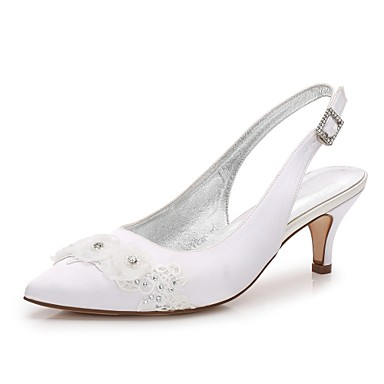 Women's Satin Spring / Summer Comfort / Basic Pump / Ankle Strap Wedding Shoes Kitten Heel / Cone Heel / Low Heel Pointed Toe Rhinestone / Beading / Pearl White / Ivory / Sparkling Glitter