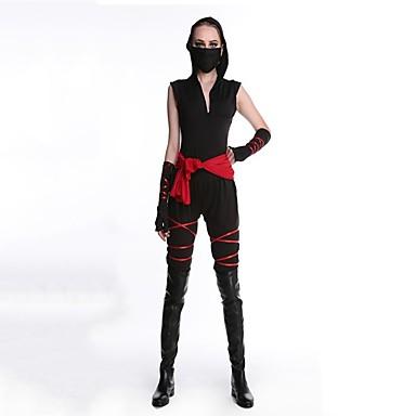 Ninja Cosplay Kostüme Maskerade Damen Halloween Karneval Oktoberfest Silvester Fest / Feiertage Halloween Kostüme Schwarz
