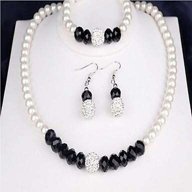 Damskie Cyrkonia Pearl imitacja Perłowy Biżuteria Ustaw 1 Naszyjnik 1 Bransoletka Náušnice - Klasyczny Circle Shape White Zestawy