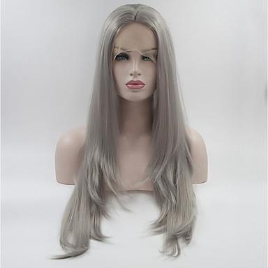 Syntetyczne koronkowe peruki Naturalne fale Fryzura cieniowana Włosy syntetyczne Szary Peruka Damskie Medium / Długo Peruka naturalna