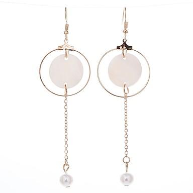 Damskie Kolczyki wiszące Klasyczny Podstawowy Imitacja pereł Stop Circle Shape Biżuteria Gold Ceremonia Party Wieczór Biżuteria kostiumowa