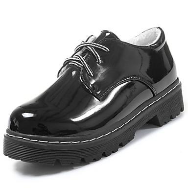 Damskie Obuwie Nappa Leather Zima Comfort Oksfordki Okrągły Toe na Na wolnym powietrzu Black Black/White